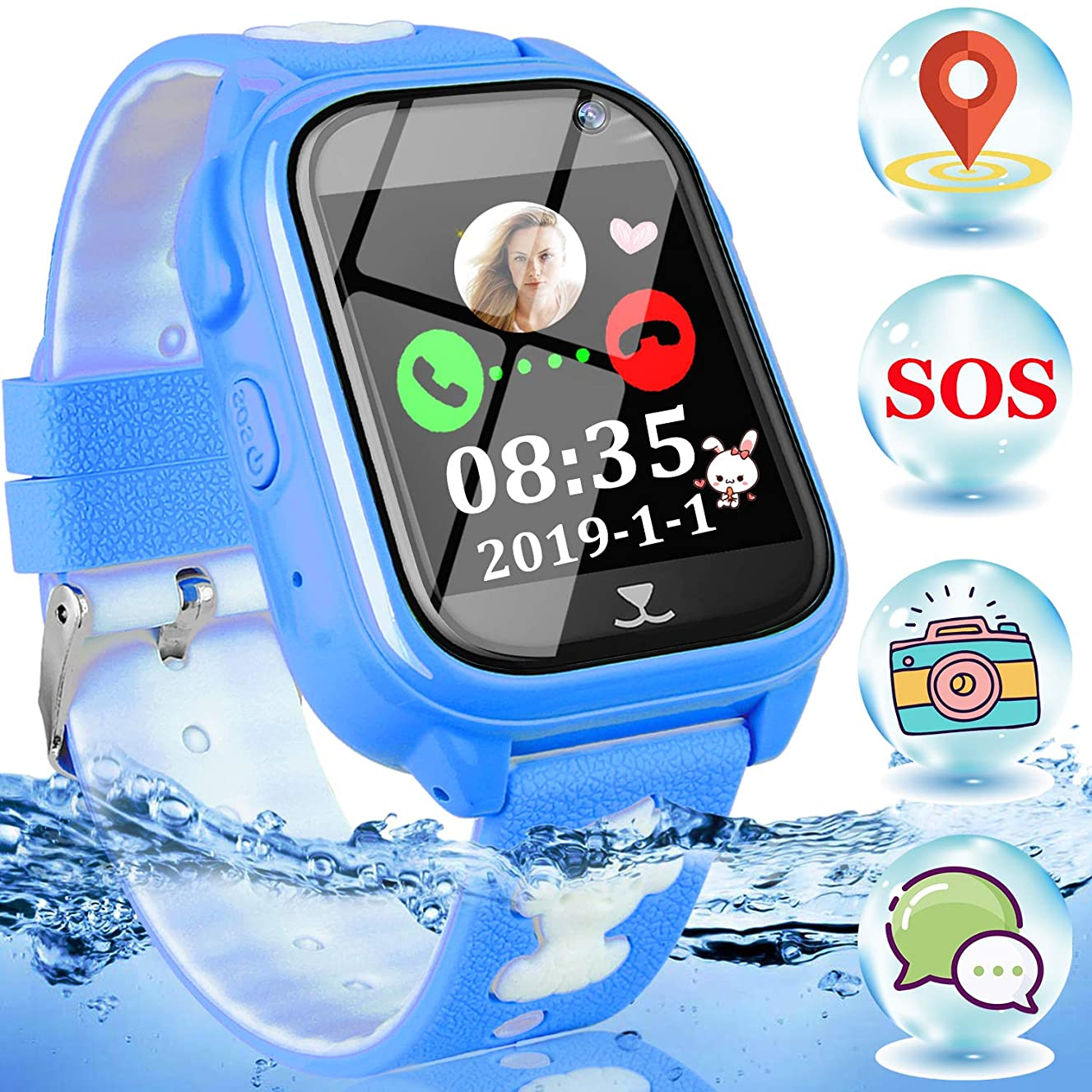 Kids Smart Watch Phone-IP68 Waterproof GPS Tracker Smartwatch for 3-12 Year Boys Girls Touch Screen SOS Camera Game Anti-Lost Class-Mode Fitness Tracker Watch Electronic Learning Toy for Children