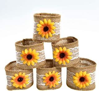 Timoo Fall Napkin Rings Set of 6, Handmade Sunflower Napkin Rings for Wedding Party and Daily Use, Home Decor