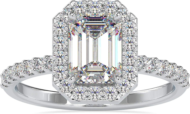Diamondrensu Max 75% OFF 1.62 CTW Emerald Cut Moissanite All items free shipping Engagemen Colorless