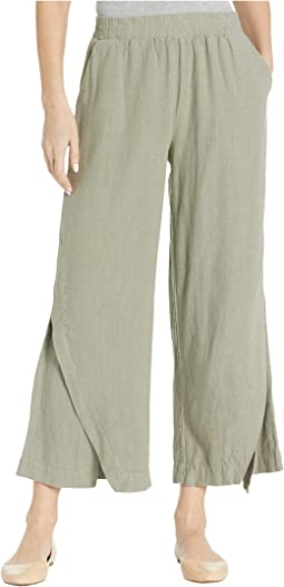 Linen Rayon Cropped Pants with Crossover Panels