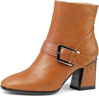 Nine Seven Women's Leather RoundToe Heel Buckle