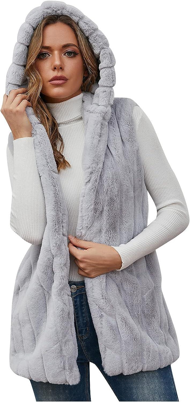 Women Faux Fur Vest Winter Warm Coats Furry Jacket Sleeveless Outerwear Waistcoat Casual