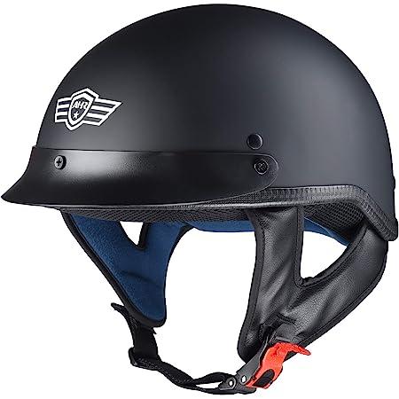 AHR Run-C Motorcycle Half Face Helmet DOT Approved Motorbike Cruiser Chopper Matt Black S