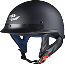 AHR Run-C Motorcycle Half Face Helmet DOT Approved Motorbike Cruiser Chopper Matt Black M