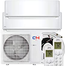 COOPER AND HUNTER Dual 2 Zone 9000 12000 BTU Wall Mount 21.3 SEER Energy Star Ductless Mini Split Air Conditioner Heat Pump with 25FT Installation Kits