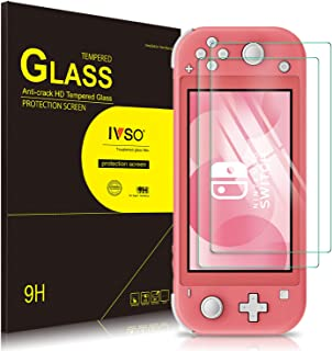 IVSO 2 Pack Screen Protector for Nintendo Switch Lite,Full Covering and Bubbles Free Scratchproof Tempered Glass,Easy Installtion Compatible with Nintendo Switch Lite