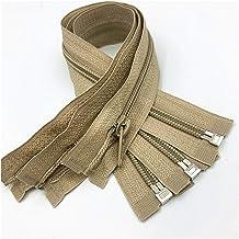 Jinggege Nylon Coil ritsen for naaien Nylon ritsen 5 stks # 5 open-end (30-70 cm) (Color : Khaki, Size : 60cm)
