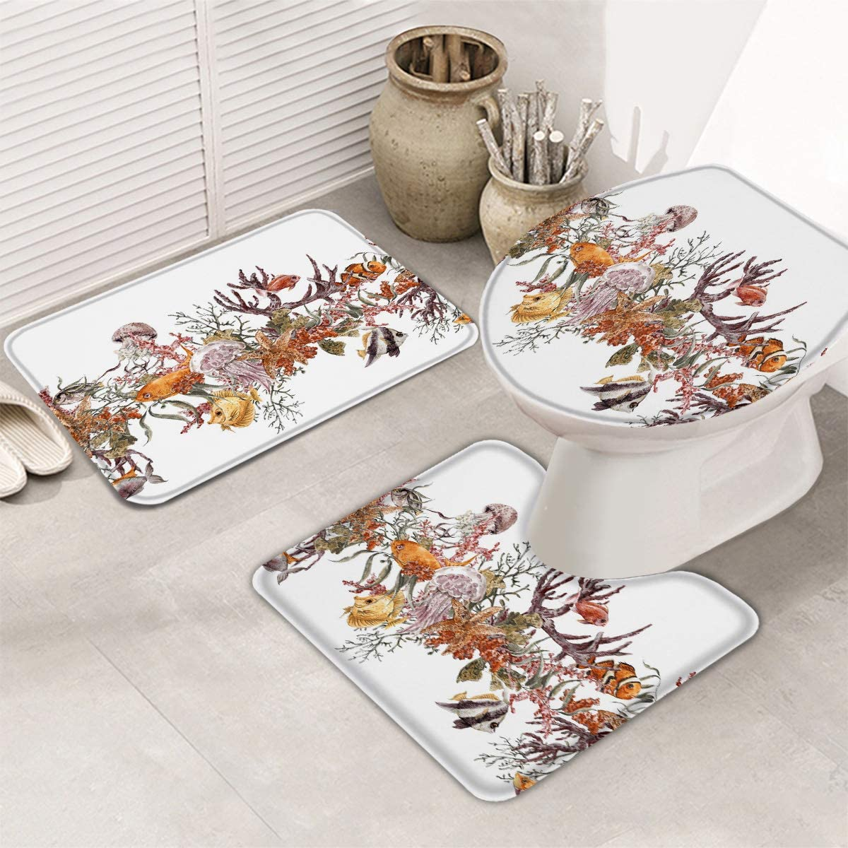 Fangship 3 Piece Bathroom Rugs Set free shipping Non Mats New products world's highest quality popular Bath for Sl