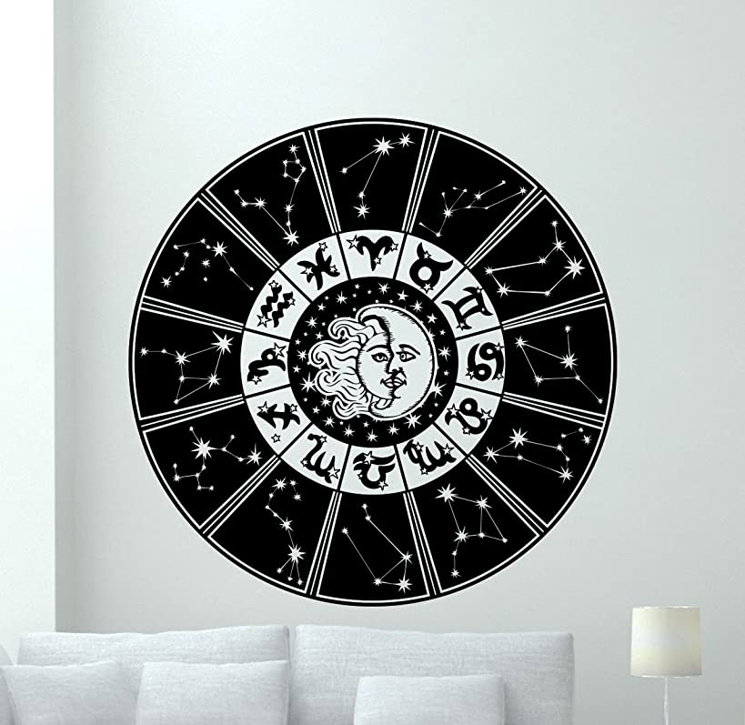 Zodiac Signs Wall Decal Astrology Horoscope Sun Moon Constellation Zodiac Sign Vinyl Sticker Cool Wall Art Design Wall Decor Housewares Kids Boy Girl Room Bedroom Decor Removable Wall Mural 23hor