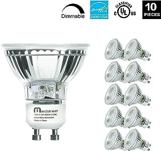 Mastery Mart 5.5W LED Light Bulb, Q35/FL/GU10 Dimmable 50W Equivalent Halogen Spotlight, 2700 Kelvin, Soft White, MR16 with UV Glass Cover, 400 Lumens, UL Listed, Energy Star (10 Pack)