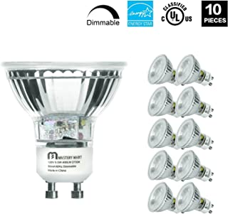 LED GU10 Spotlight Light Bulbs, 50 Watt Equivalent, 5.5W Dimmable, MR16 Full Glass Cover, 2700K Soft White, 25000 Hours, UL Listed, Energy Star Certified, by Mastery Mart (Pack of 10)