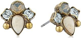 Sorrelli Coastal Mist Multi-Cut Crystal and Semi Precious Stud Earrings