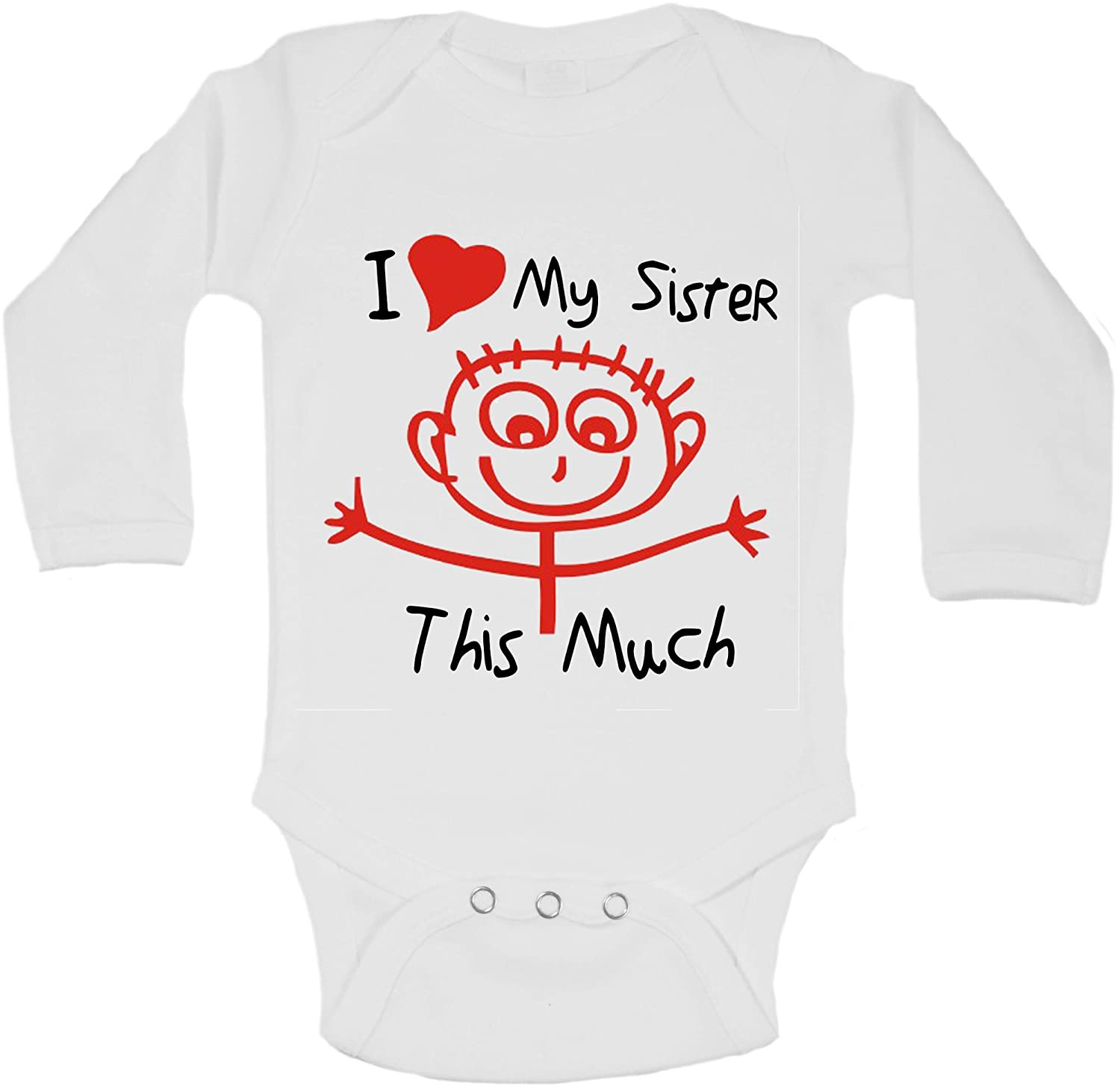 I Love My Sister This Much Personalized Long Sleeve Baby Vests Bodysuits Baby Grows Unisex Boys Girls White Newborn Baby