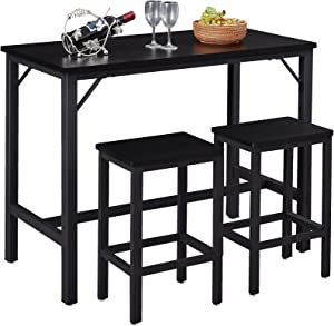 """SUPERJARE Bar Table Set with 2 Bar Stools, 35.6"""" Pub Dining Height Table Set, 3 Pieces Kitchen Counter Set, Vintage Industrial Furniture for Living Room - Black"""