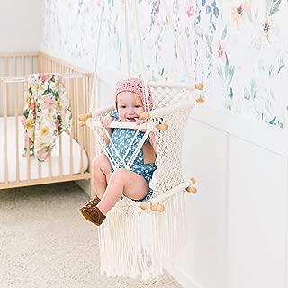 little dove Hanging Swing Seat Macrame Hammock Baby Swing for Infant to Toddler Beige Cotton Rope Weaved Nursery Decor Girl Birthday Gift
