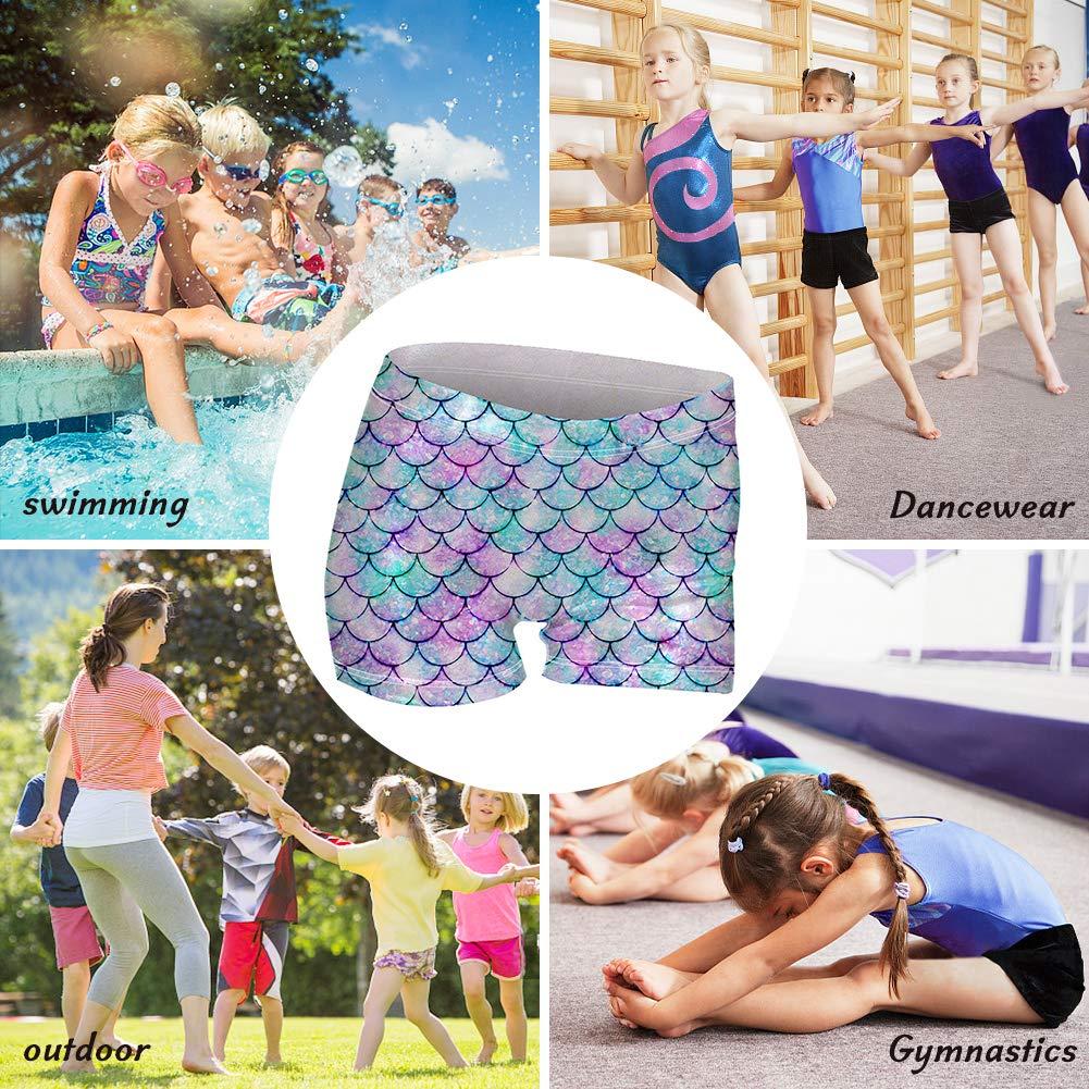 Enlifety Girls Gymnastics Shorts 3D Printed Athletic-Shorts Sparkle Dance Tumbling Sports Bike Short 4-12T