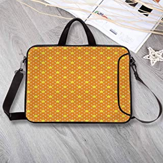 """Star Waterproof Neoprene Laptop Bag,Small Large Star Pattern in Vivid Color Starry Night Sky Polka Dot Ornament Print Decorative Laptop Bag for Business Casual or School,14.6""""L x 10.6""""W x 0.8""""H"""