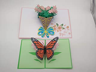 2 Pack Pop Up Card, 3D Card, Greeting Card, Mother's Day Card, Spring Card, Summer Card, Birthday Card, Flower Card, Appreciation Card (Butterfly and Lily)