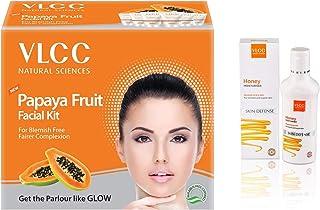 VLCC Papaya Fruit Facial Kit, 60g And VLCC Honey Moisturiser, 100ml