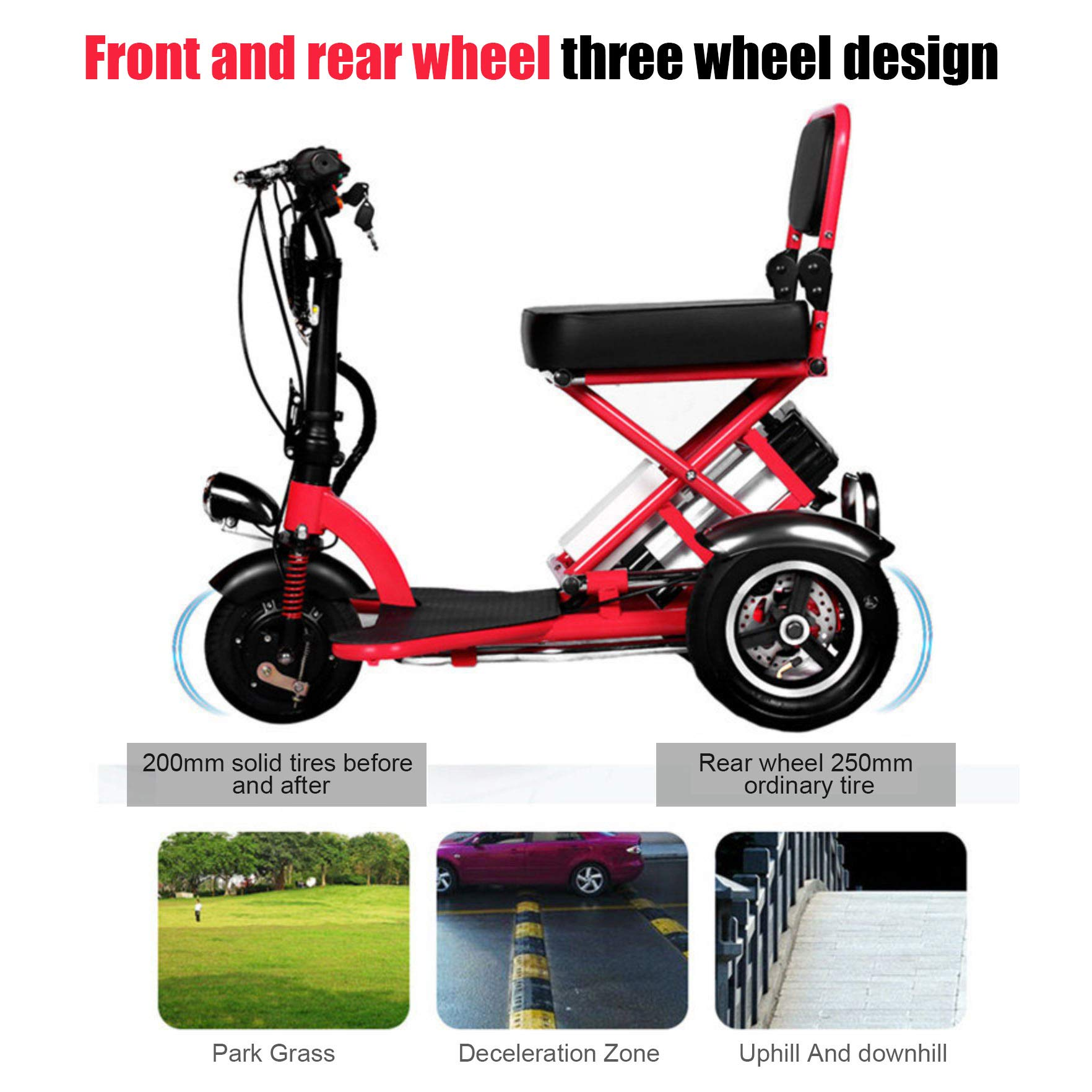 SPEED Mini Triciclo El/éctrico Plegable Scooter El/éctrico Adultos Litio Port/átil para Discapacitados Ancianos Bater/ía Coche 48V Puede Durar 60 Km Red