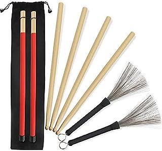 5A Drumsticks 2 Paar klassische hochwertige Ahorn-Drum-Stick-Sets mit einziehbarer Drahttrommelbürste und professioneller ...