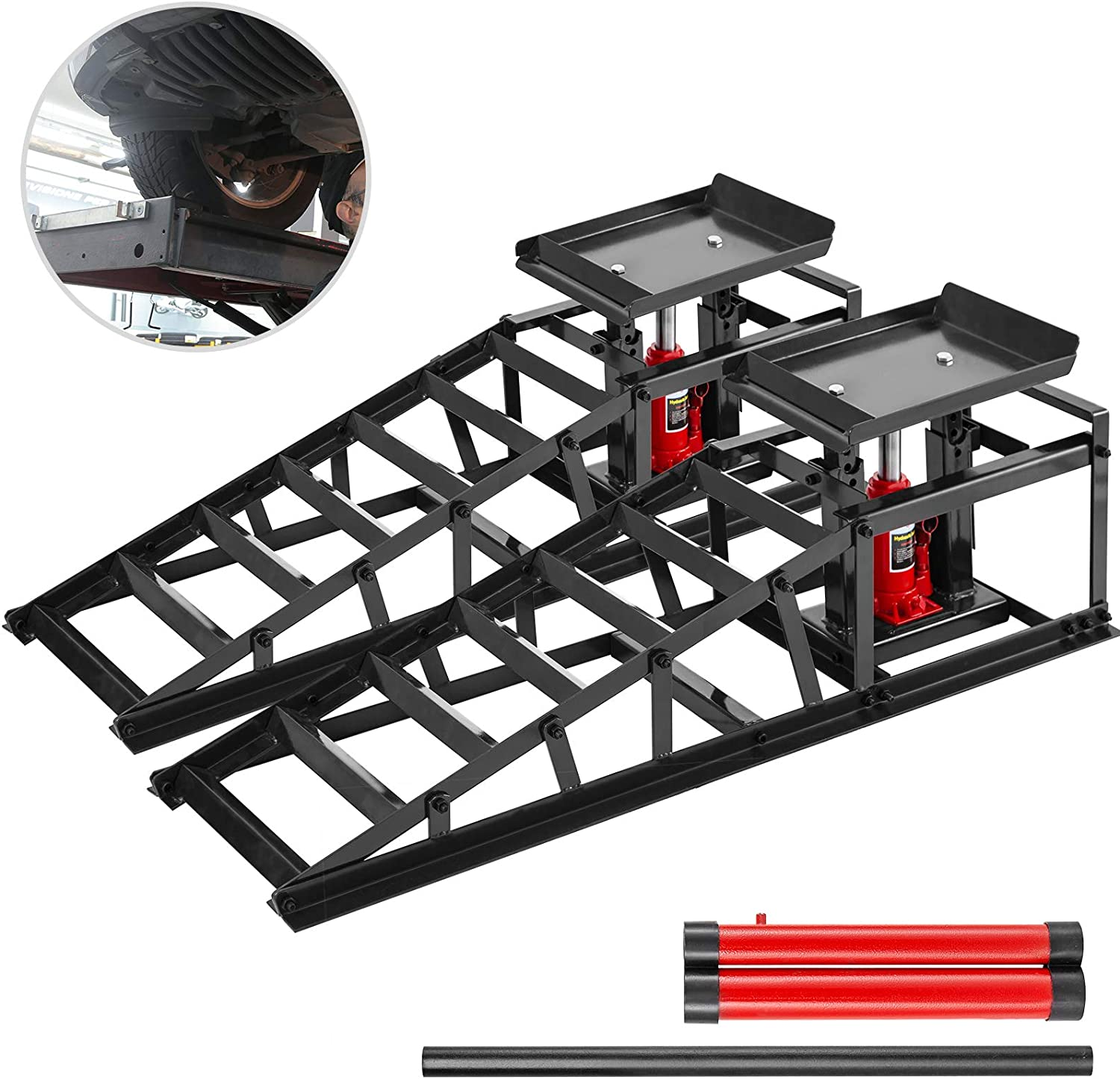 BestEquip 11000lbs Hydraulic Car Ramps, Auto Truck Service Ramp, Hydraulic Lift Car Ramps, Extra Two Handles, 1-Pair Black