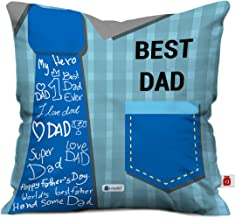 Indigifts Best Dad Quote Blue Cushion Cover 12X12 Inches With Filler - Multi Color/White