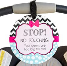 Girl Zig Zag Tag - Stop, No Touching, Your Germs Are Too Big For Me (Girl Preemie Sign, Newborn, Baby Car Seat Tag, Baby Shower, Stroller Tag, Baby Preemie No Touching Car Seat Sign)