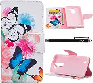 LG K7 Case, LG K8 Case, iYCK Premium PU Leather Flip Folio Carrying Magnetic Closure Protective Shell Wallet Case Cover for LG Tribute 5/Phoenix 2/Escape 3 with Kickstand Stand - Butterfly Flower