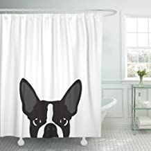 TOMPOP Shower Curtain Black Pop Boston Terrier Silhouette White Colorful Bulldog Dog Waterproof Polyester Fabric 72 x 72 inches Set with Hooks