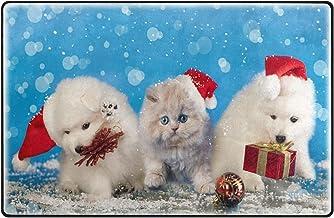 Printed Floor Mat Bath Mat Machine Washable Christmas Dog Cat Kitens Santa Hat Bus Indoor Floor Mats for Home Kitchen Chri...