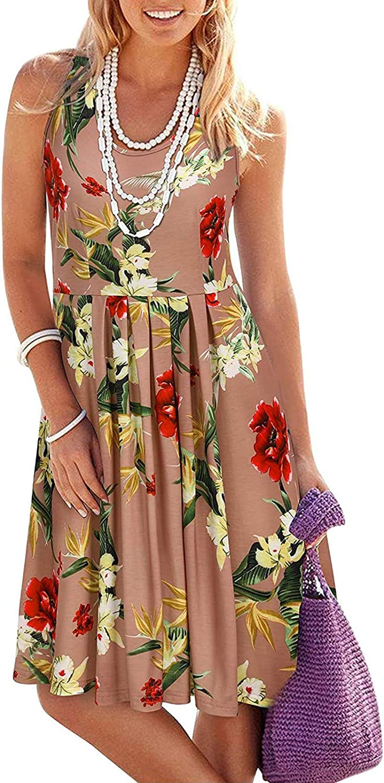 TavorptDressesforWomen,Women'sCasualSummer Crew Neck Slim Print Floral MiniDressShortBohoDressBeachSundress