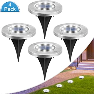 Solar Ground Lights Outdoor 8 LED Solar Garden Lights Outdoor Waterproof Solar Landscape Lights Solar In-Ground Pathway Lights Solar Disk Lights for Patio Yard Lawn Deck Walkway, Cold White, 4 Pack