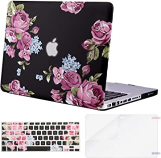MOSISO Plastic Pattern Hard Case&Keyboard Cover&Screen Protector Only Compatible with Old Version MacBook Pro 13 inch (A1278, with CD-ROM) Release Early 2012/2011/2010/2009/2008, Peony