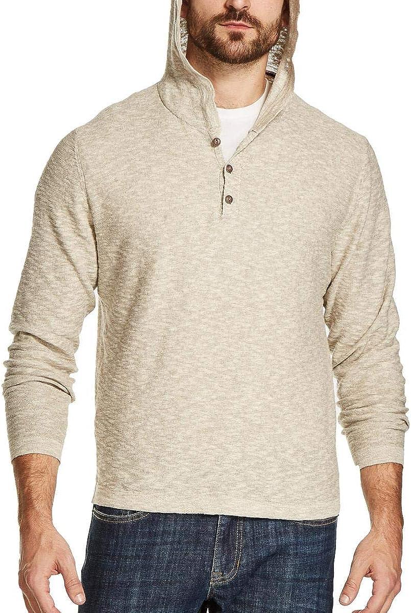 Weatherproof Mens Texture Hooded Henley Sweater