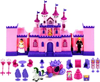 Velocity Toys My Beautiful Castle 34 Toy Doll Playset w/ Lights, Sounds, Prince and Princess Figures, Horse Carriage, Castle Play House, Furniture, Accessories