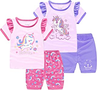 Little Kid and Toddler Girl`s Snug-Fit 100% Cotton Unicorn 4-Piece Pajamas Set 2 to 7 Years