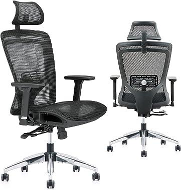 ZUERST Ergonomic Office Chair - Reclining Office Chair with Mesh Seat and Back, Flip-Up Headrest, Lumbar Support, 3D Armrest,