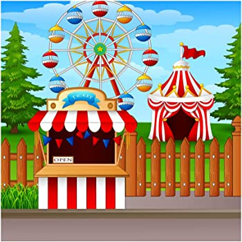 Playground Amusement Park Nightscape Backdrop 8x6.5ft Polyester Circus Dreamlike Lighting Carousel Rotary Ferris Wheel Trees Background Birthday Party Banner Lovers Wedding Child Baby Shoot