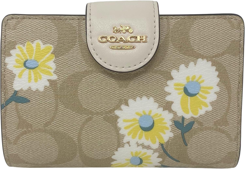 Coach Signature Medium Corner Zip Daisy Brand new Ranking TOP20 Wallet Style With Print