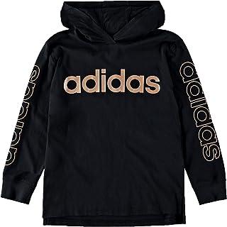 adidas Boys` Big Long Sleeve Hooded Logo T-Shirt