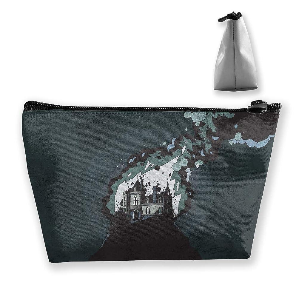 カップル可愛い氷台形 レディース 化粧ポーチ トラベルポーチ 旅行 ハンドバッグ 火山の城 コスメ メイクポーチ コイン 鍵 小物入れ 化粧品 収納ケース