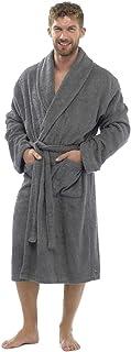 HiA Direct Mens Towelling Robe Dressing Gown Bath Bathrobe Cotton Rich Loungewear Boys Casual Nightwear Two Pockets and Be...