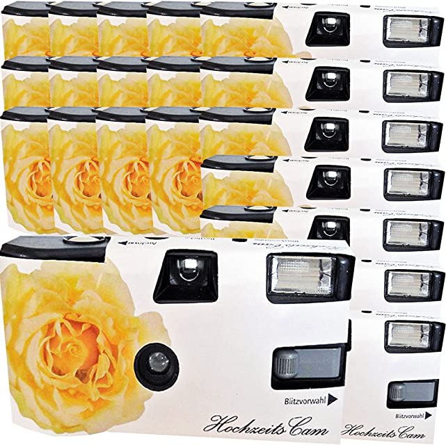 20x boda Cámara/cámara desechable PHOTO PORST crema amarillas de bodas Rose (con flash luz y pilas por 27 fotos ISO 400 Fuji)
