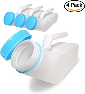 [Pack of 4] [Glow in The Dark] Spill Proof Urine Bottles for Men, Screw Cap Plastic Pee Holder, Portable Urinal, Urine Collection for Hospital, Incontinence, Elderly, Travel Bottle and Emergency