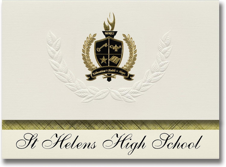 Signature Ankündigungen ST Helens High School (St. Helens, oder) Graduation Ankündigungen, Presidential Stil, Elite Paket 25 Stück mit Gold & Schwarz Metallic Folie Dichtung B078VCRJKQ   | New Product 2019