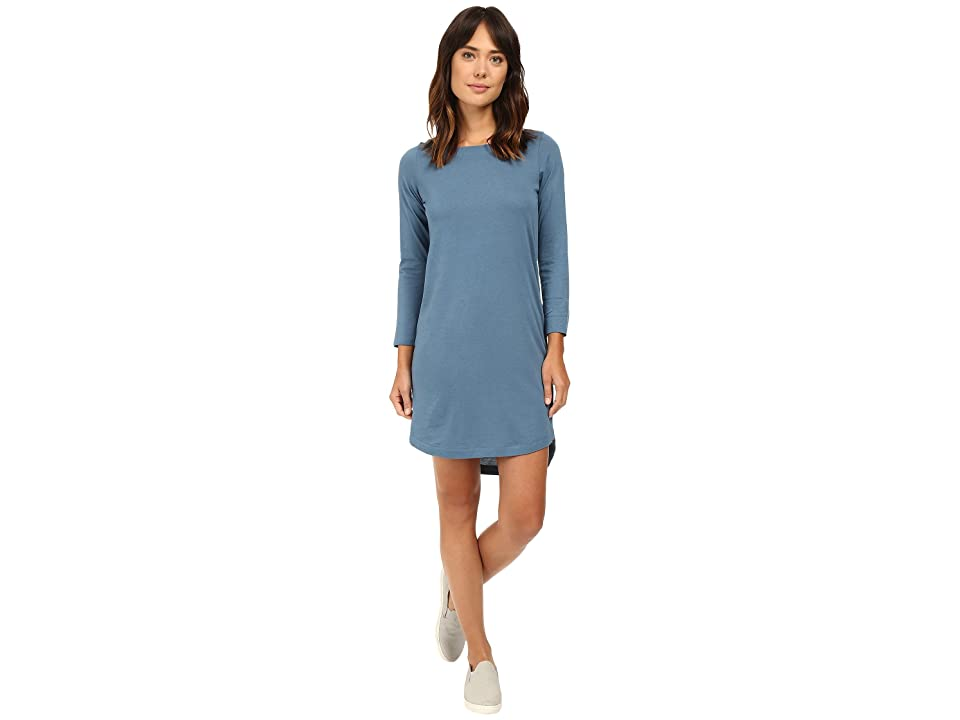 Alternative East Side Long Sleeve Cotton Modal Dress (Green Cast Indigo) Women