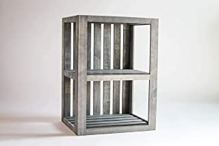 Darla'Studio 66 End Table/Nightstand Wood Crate Antique Gray Stained