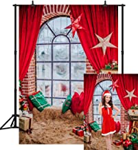 CapiSco 5X7FT Christmas Backdrop Photography Background Beautiful Christmas Lights Gift and Stars Red Curtain Window Sill Backdrop for Baby Child Family Portrait Photo Vinyl Backdrop SCO122A
