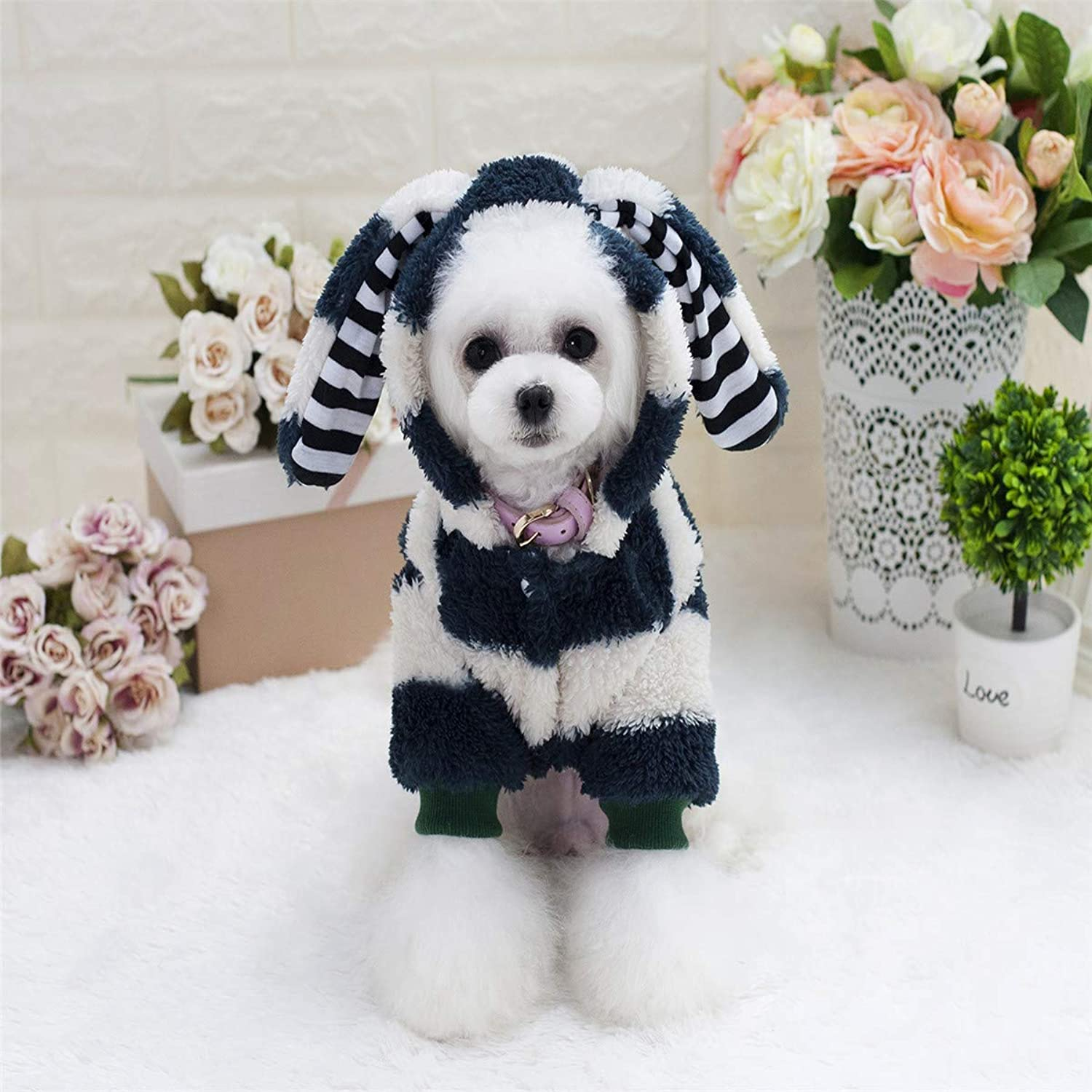 HSDDA Party Pet Costume Dog coat autumn and winter new puppy clothes dog clothes pet clothing big ears rabbit twolegged fleece (color   Pink, Size   XXL) Pet Uniform (color   Green, Size   XXL)